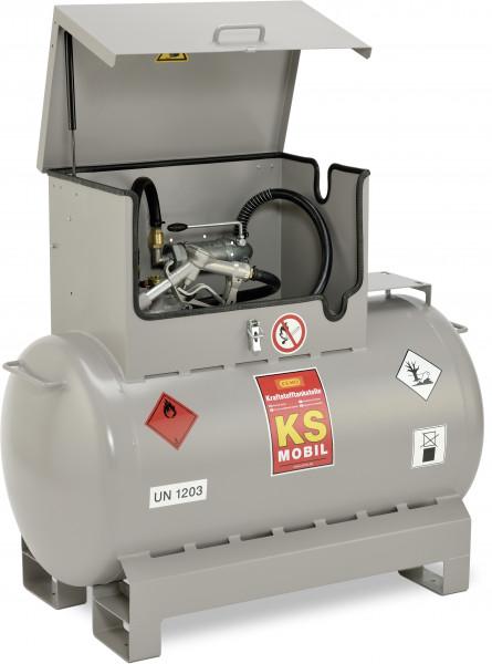 KS-Mobil 300 l lackiert mit Handpumpe und Pumpenkasten - Deckel offen