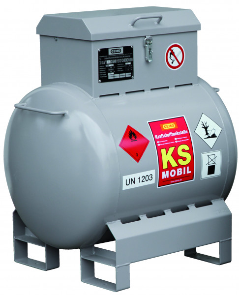 KS-Mobil 200l liegend mit Handpumpe und Pumpenkasten